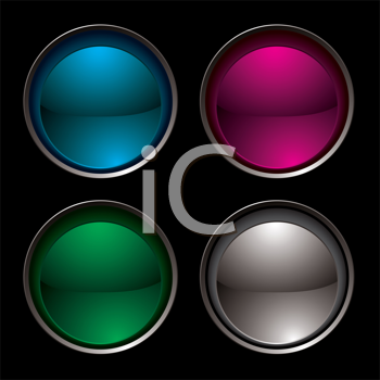 Royalty Free Clipart Image of Four Buttons