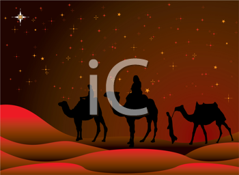 Royalty Free Clipart Image of the Three Wisemen on Camels