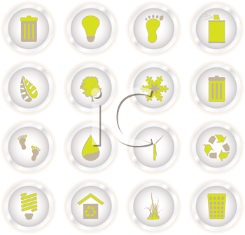 Royalty Free Clipart Image of a Set of Eco Buttons