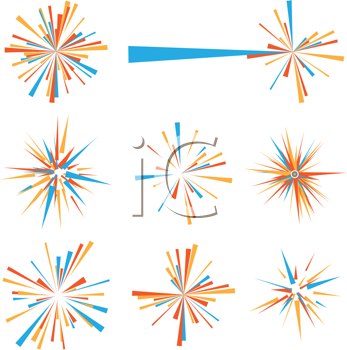 Royalty Free Clipart Image of Exploding Icons