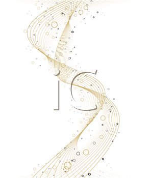 Royalty Free Clipart Image of Flowing Gold on White