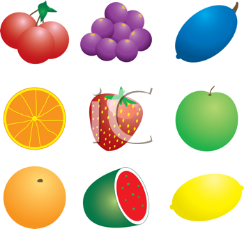Royalty Free Clipart Image of Fruits