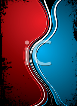 Royalty Free Clipart Image of a Red and Blue Background