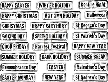 Royalty Free Clipart Image of a Set of Holiday Stamps