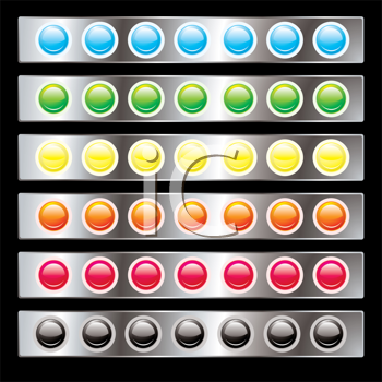 Royalty Free Clipart Image of Round Buttons on Silver