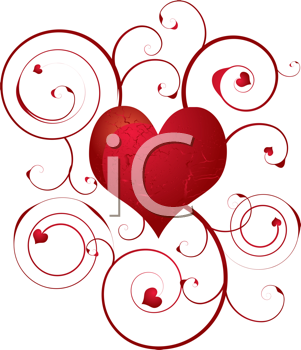 Royalty Free Clipart Image of a Heart Design With Flourishes