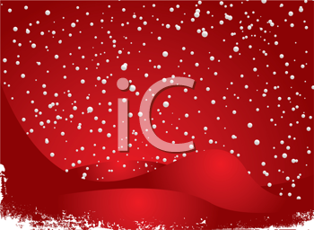 Royalty Free Clipart Image of Snowfall on Red