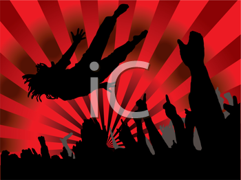 Royalty Free Clipart Image of a Stage Diver
