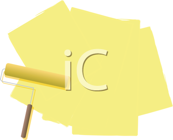 Royalty Free Clipart Image of a Yellow Paint Roller