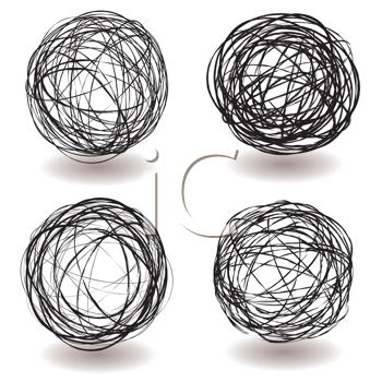 Royalty Free Clipart Image of Scribble Balls