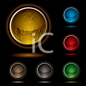 Royalty Free Clipart Image of Nine Buttons