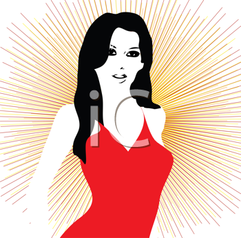 Royalty Free Clipart Image of a Girl in a Red Dress