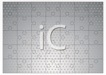 Royalty Free Clipart Image of a Metal Jigsaw Puzzle With Holes