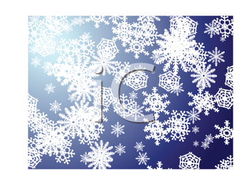 Royalty Free Clipart Image of a Snowflakes on Blue
