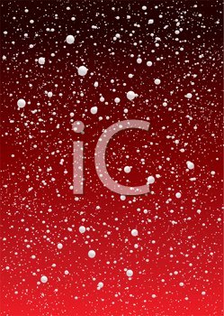 Royalty Free Clipart Image of a Snowfall on Red