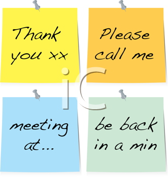Royalty Free Clipart Image of a Collection of Sticky Notes With Messages
