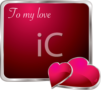 Royalty Free Clipart Image of a Valentine Message With Hearts at the Bottom