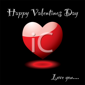 Royalty Free Clipart Image of a Valentine's Message With a Heart