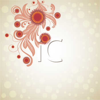 Royalty Free Clipart Image of a Background With a Floral Design in the Corner