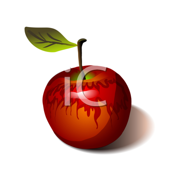 Royalty Free Clipart Image of a Red Apple and Leaf