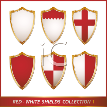 Royalty Free Clipart Image of a Red and White Shield Collection