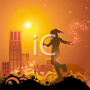 Royalty Free Clipart Image of a Girl Playing With Lights Against Buildings at Sunset