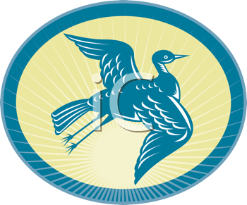 Royalty Free Clipart Image of a Flying Heron