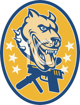 Royalty Free Clipart Image of a Dog With a Pistol and Revolver