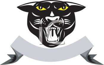 Royalty Free Clipart Image of a Black Panther's Head Over a Ribbon