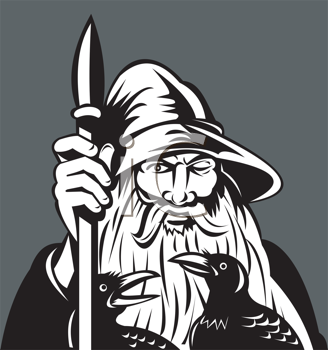 Royalty Free Clipart Image of a Wizard With a Raven