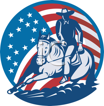 Royalty Free Clipart Image of a Rodeo Cowboy in Front of Stars and Stripes
