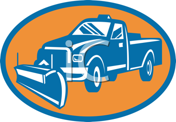 Royalty Free Clipart Image of a Snowplow on a Pickup Truck