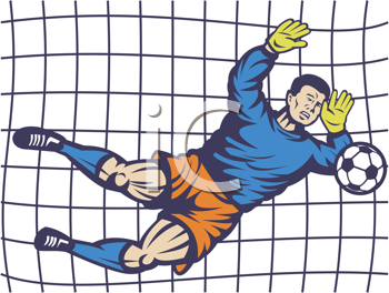 Royalty Free Clipart Image of a Soccer Player in Net
