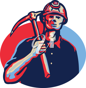 Illustration of a coal miner wearing hardhat with pick axe facing front set inside oval done in retro style.