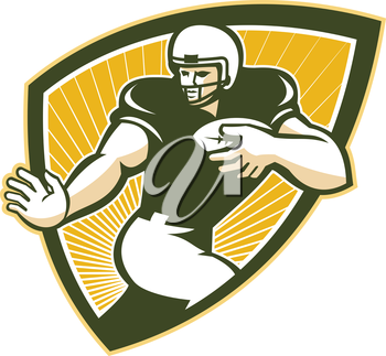 Illustration of an american football gridiron running back player running with ball facing front done in retro style set inside shield.