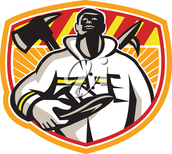 Illustration of a fireman fire fighter emergency worker looking up holding visor helmet with fire axe and hook pike pole crossed set inside shield done in retro style.
