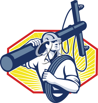 Illustration of a power lineman telephone repairman worker carrying utility electric post and cable done in retro style.