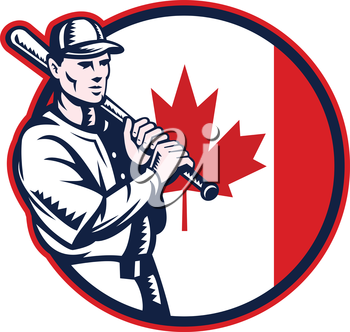 Illustration of a Canadian baseball player batter hitter holding bat on shoulder set inside circle with Canada maple leaf flag done in retro woodcut style isolated on white background.