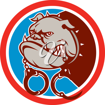 Illustration of a bulldog dog mongrel head mascot biting handcuffs set inside circle on isolated background done in retro style.
