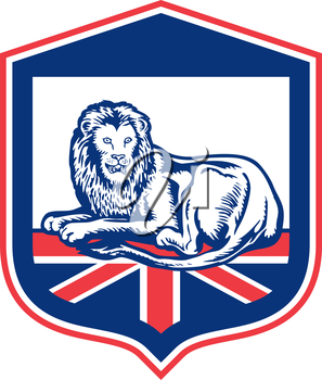 Illustration of a lion lying viewed from the front set inside shield crest with british flag in the background done in retro style.