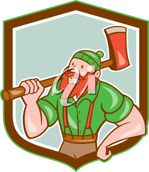 Illustration of a Paul Bunyan an American lumberjack sawyer forest holding an axe on shoulder looking up to side set inside shield crest shape done in cartoon style.