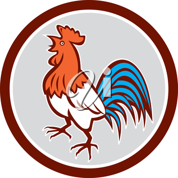 Illustration of a chicken rooster crowing looking up viewed from the side set inside circle on isolated background done in retro style.
