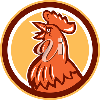 Illustration of a chicken rooster head crowing looking up viewed from the side set inside circle on isolated background done in retro style.