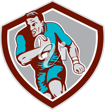 Illustration of a rugby player holding ball running charging set inside shield crest on isolated background done in retro style.