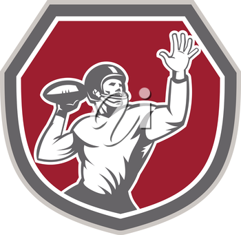 Illustration of an american football gridiron quarterback player throw ball facing front set inside crest shield on isolated background done in retro style.