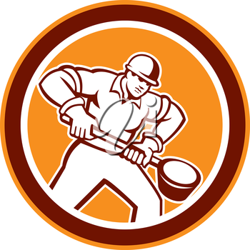 Illustration of a foundry worker holding a ladle facing front set inside circle shape done in retro style.