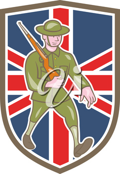 Illustration of a World War one British soldier serviceman marching with assault rifle viewed from side set inside shield with UK British flag in the background done in cartoon style.
