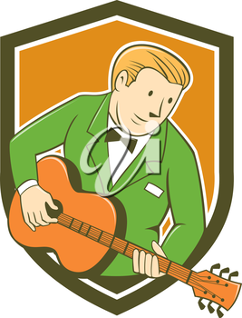 Illustration of a musician guitarist playing guitar set inside shield crest on isolated background done in cartoon style.
