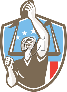 Illustration of an american football gridiron receiver player with ball scoring touchdown with goal post an usa stars and stripes in the background set inside shield crest done in retro style