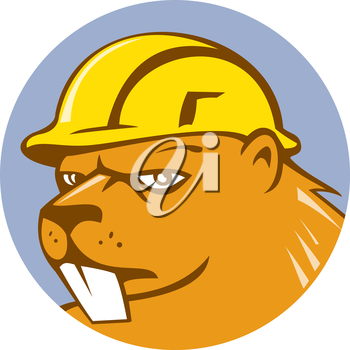 Illustration of a beaver construction worker wearing hard hat set inside circle on isolated background done in cartoon style.